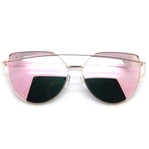 Accessories - Pink Mirrored Gold Frame Retro Cat Eye Sunnies